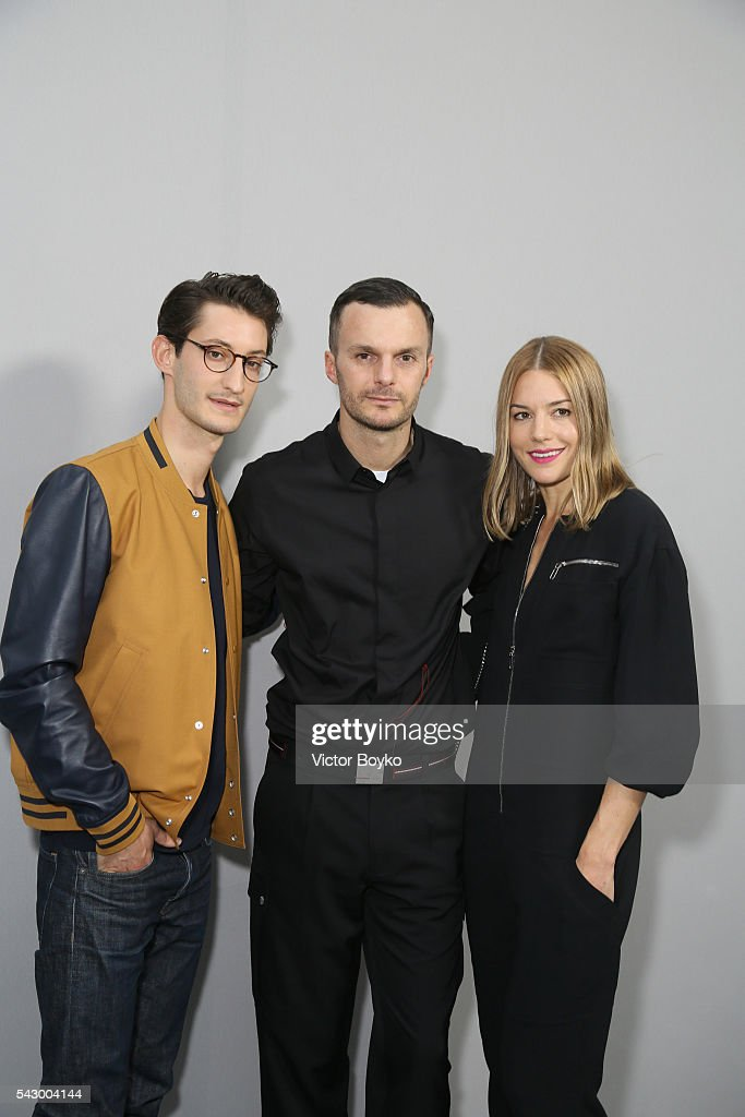 Pierre Niney, Kris Van Assche and Natasha Andrews pose in the backstage before the Dior Homme Menswear Spring/Summer 2017 show as part of Paris Fashion Week on June 25, 2016 in Paris, France.