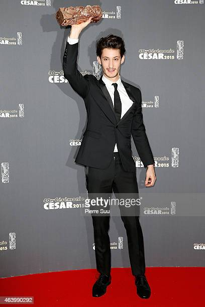 Pierre Niney poses in the Award room after he received the award for Best Actor in 'Yves Saint Laurent' at the 40th Cesar Film Awards 2015 Ceremony...