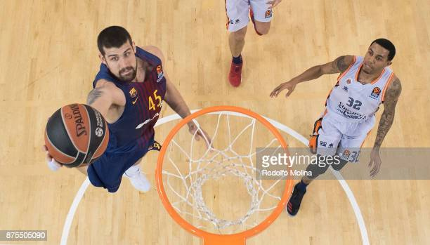 Pierre Oriola #18 of FC Barcelona Lassa in action during the 2017/2018 Turkish Airlines EuroLeague Regular Season Round 8 game between FC Barcelona...