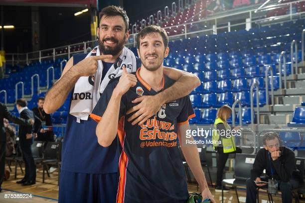 Pierre Oriola #18 of FC Barcelona Lassa jokes to Joan Sastre #30 of Valencia Basket prior the 2017/2018 Turkish Airlines EuroLeague Regular Season...