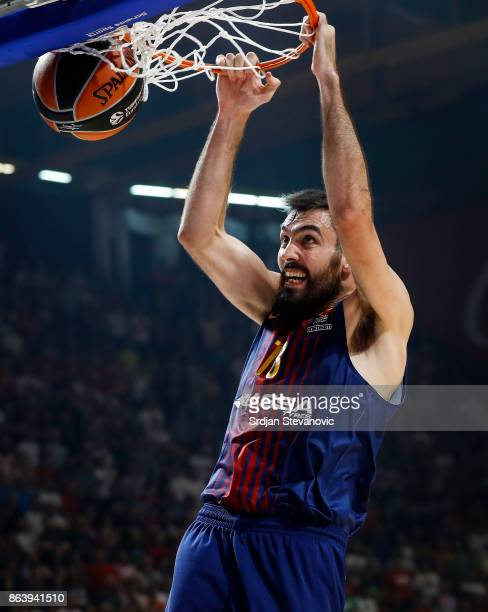 Pierre Oriola of Barcelona scores during the 2017/2018 Turkish Airlines EuroLeague Regular Season game between Crvena Zvezda mts Belgrade and FC...