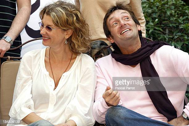 Pierre Palmade and Michele Laroque pose during the 14th edition of the association 'Fight Aids' press conference