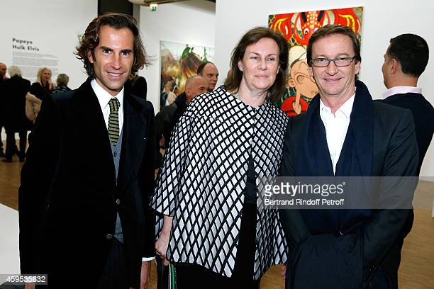 Pierre Pellegri Sylvie Winkler and Taddaeus Ropac attend the 'Jeff Koons' Retrospective Exhibition Opening Evening at Beaubourg on November 24 2014...