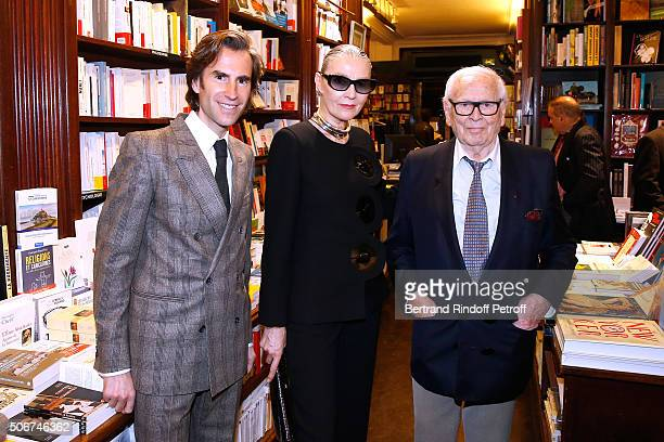 Pierre Pellegry Maryse Gaspard and Pierre Cardin attend Princess Gloria Von Thurn und Taxis signs her Book 'The House of Thurn und Taxis' Held at...