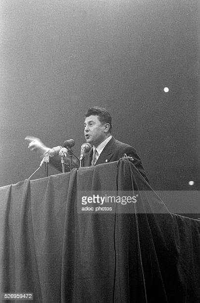 Pierre Poujade during a meeting at the Vel d'Hiv in Paris In January 1956