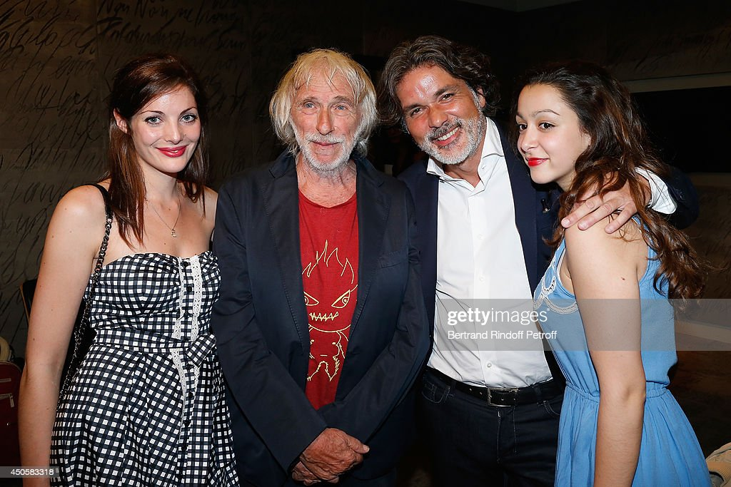 Pierre Richard pose with Christophe Barratier his daughter Violette and his companion after the one man show of Pierre Richard 'Le Vendredi 13 De...