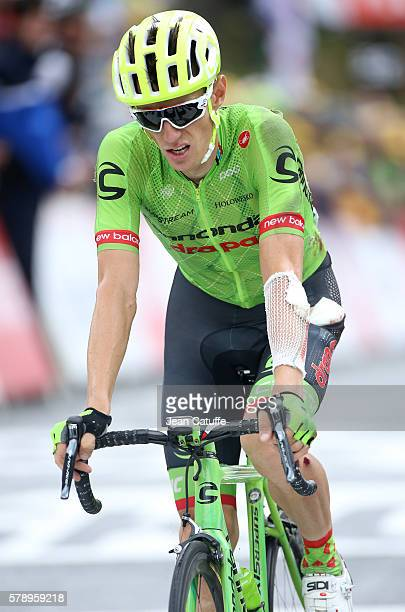 Pierre Rolland of France and Cannondale Drapac Team who fell during the race crosses the finish line of stage 19 of the Tour de France 2016 a stage...