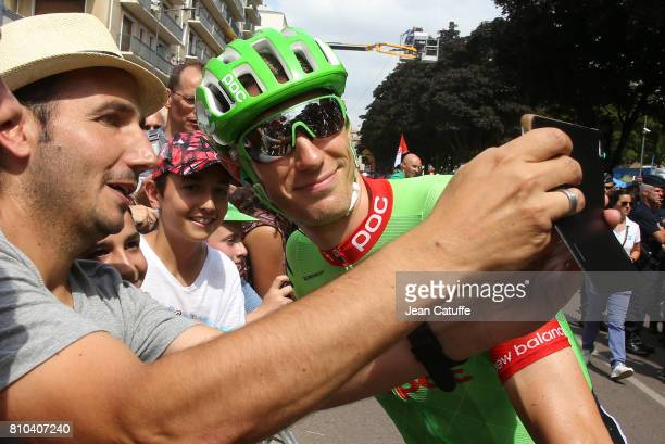 Pierre Rolland of France and Team CannondaleDrapac at the start of stage 7 of the Tour de France 2017 a stage between Troyes and NuitsSaintGeorges on...