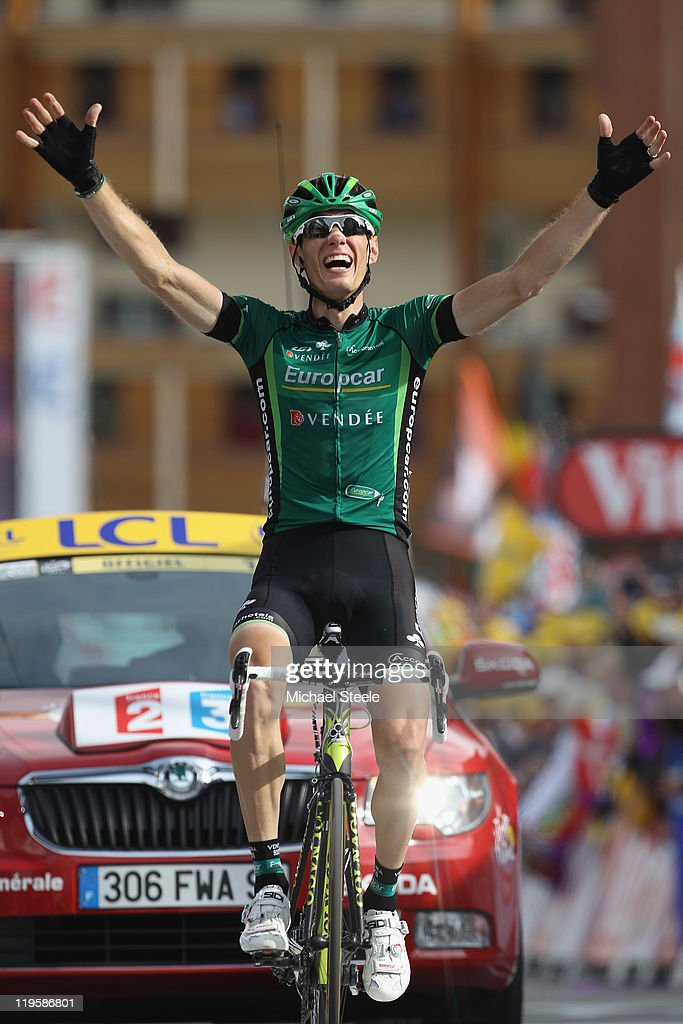 <a gi-track='captionPersonalityLinkClicked' href=/galleries/search?phrase=Pierre+Rolland&family=editorial&specificpeople=4112376 ng-click='$event.stopPropagation()'>Pierre Rolland</a> of France and Team Europcar celebrates victory during Stage 19 of the 2011 Tour de France from Modane to Alpe d'Huez on July 22, 2011 in Alpe d'Huez, France.