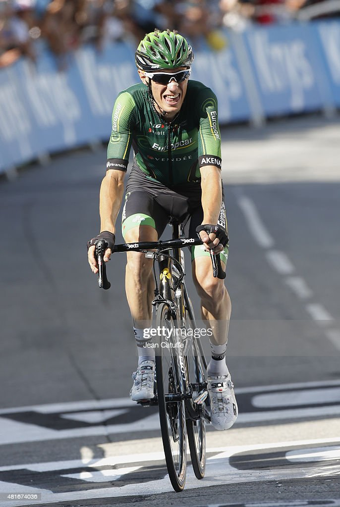 <a gi-track='captionPersonalityLinkClicked' href=/galleries/search?phrase=Pierre+Rolland&family=editorial&specificpeople=4112376 ng-click='$event.stopPropagation()'>Pierre Rolland</a> of France and Team Europcar finishes second of stage eighteenth of the 2015 Tour de France, a 186.5 km stage from Gap to Saint Jean de Maurienne on July 23, 2015 in Gap, France.
