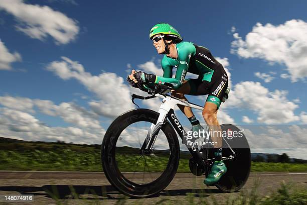 Pierre Rolland of France and Team Europcar in action during stage nine of the 2012 Tour de France a 415km individual time trial from ArcetSenans to...