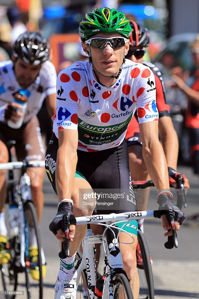 <a gi-track='captionPersonalityLinkClicked' href=/galleries/search?phrase=Pierre+Rolland&family=editorial&specificpeople=4112376 ng-click='$event.stopPropagation()'>Pierre Rolland</a> of France and Team Europcar in action during stage twenty of the 2013 Tour de France, a 125KM road stage from Annecy to Annecy-Semnoz, on July 20, 2013 in Annecy, France.