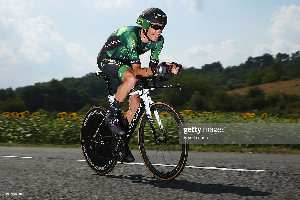 <a gi-track='captionPersonalityLinkClicked' href=/galleries/search?phrase=Pierre+Rolland&family=editorial&specificpeople=4112376 ng-click='$event.stopPropagation()'>Pierre Rolland</a> of France and Team Europcar in action during the twentieth stage of the 2014 Tour de France, a 54km individual time trial stage between Bergerac and Perigueux, on July 26, 2014 in Perigueux, France.