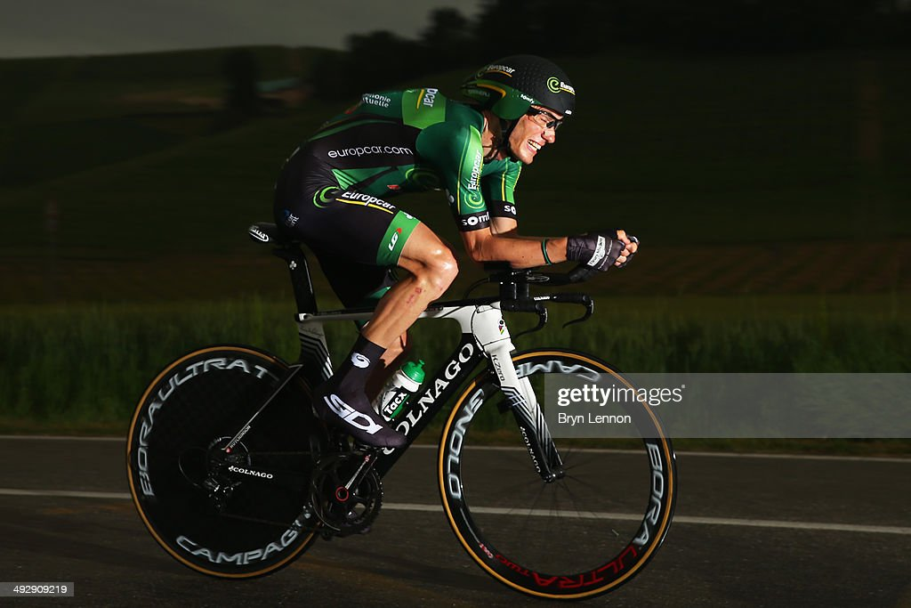 <a gi-track='captionPersonalityLinkClicked' href=/galleries/search?phrase=Pierre+Rolland&family=editorial&specificpeople=4112376 ng-click='$event.stopPropagation()'>Pierre Rolland</a> of France and Team Europcar in action during the twelfth stage of the 2014 Giro d'Italia, a 42km Individual Time Trial stage between Barbarasco and Barolo on May 22, 2014 in Barbarasco, Italy.
