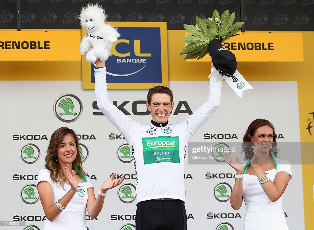 Pierre Rolland of France and Team Europcar retains the young riders White jersey after the Individual Time Trial Stage 20 of the 2011 Tour de France on July 23, 2011 in Grenoble, France.