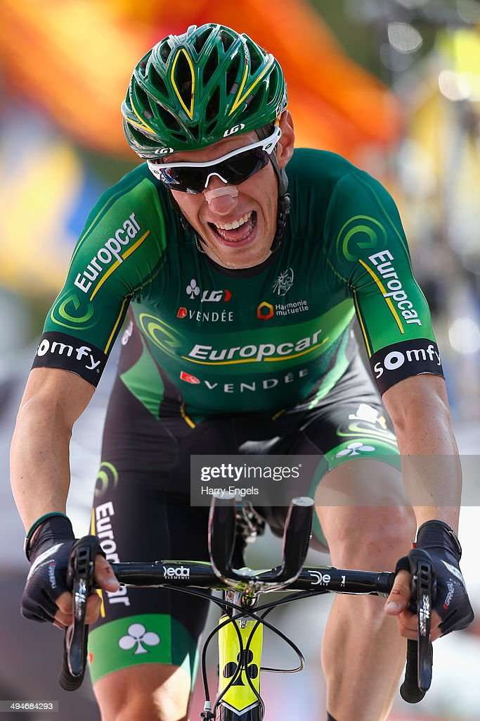 <a gi-track='captionPersonalityLinkClicked' href=/galleries/search?phrase=Pierre+Rolland&family=editorial&specificpeople=4112376 ng-click='$event.stopPropagation()'>Pierre Rolland</a> of France and team Europcar sprints for the finish line during the nineteenth stage of the 2014 Giro d'Italia, a 27km Individual Time Trial stage between Bassano del Grappa and Cima Grappa on May 30, 2014 in Bassano del Grappa, Italy.
