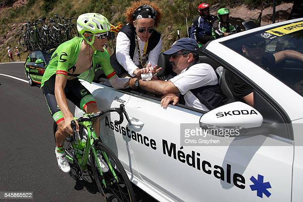 Pierre Rolland of France riding for Cannondale Drapac Team is attended to by the medical car during stage nine of the 2016 Le Tour de France a 1845km...