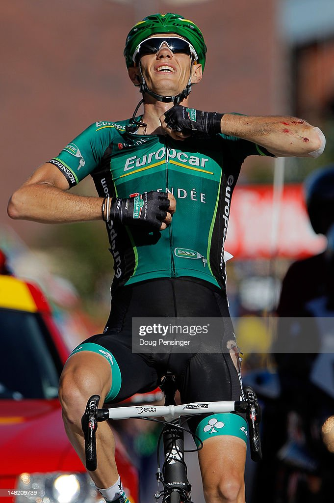 <a gi-track='captionPersonalityLinkClicked' href=/galleries/search?phrase=Pierre+Rolland&family=editorial&specificpeople=4112376 ng-click='$event.stopPropagation()'>Pierre Rolland</a> of France riding for Europcar celebrates as he crosses the finish line to win stage eleven of the 2012 Tour de France from Albertville to La Toussuire on July 12, 2012 in La Toussuire, France.