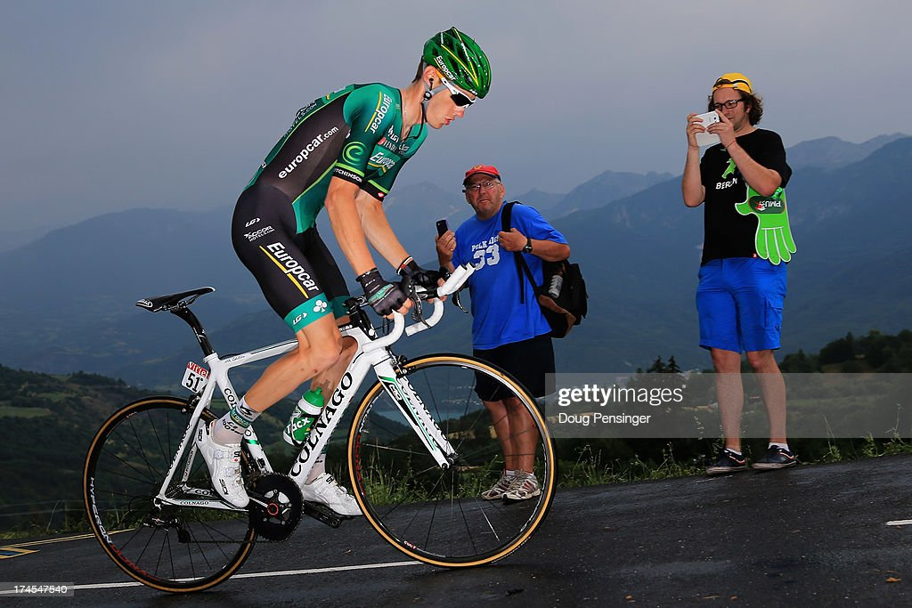 <a gi-track='captionPersonalityLinkClicked' href=/galleries/search?phrase=Pierre+Rolland&family=editorial&specificpeople=4112376 ng-click='$event.stopPropagation()'>Pierre Rolland</a> of France riding for Europcar competes during stage seventeen of the 2013 Tour de France, a 32KM Individual Time Trial from Embrun to Chorges, on July 17, 2013 in Chorges, France.