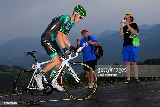 Pierre Rolland of France riding for Europcar competes during stage seventeen of the 2013 Tour de France a 32KM Individual Time Trial from Embrun to...