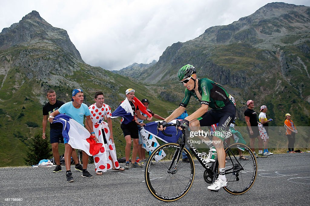 <a gi-track='captionPersonalityLinkClicked' href=/galleries/search?phrase=Pierre+Rolland&family=editorial&specificpeople=4112376 ng-click='$event.stopPropagation()'>Pierre Rolland</a> of France riding for Team Europcar is encouraged by supporters as he rides alone at the front of the race on the Col de la Croix de Fer during stage 19 of the 2015 Tour de France from Saint-Jean-de-Maurienne to La Troussuire on July 24, 2015 in Saint Sorlin d'Arves, France.