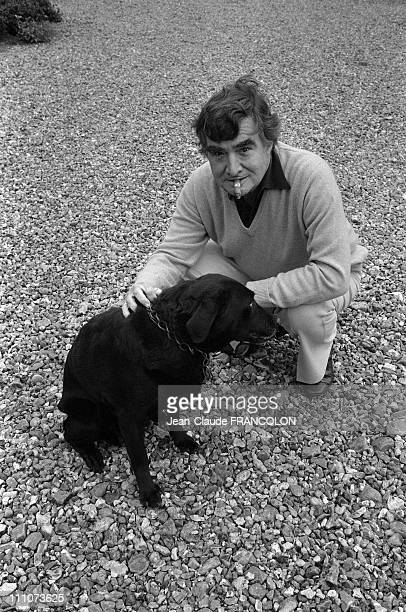 Pierre Salinger and his dog in his castle in Touraine France on October 01 1983