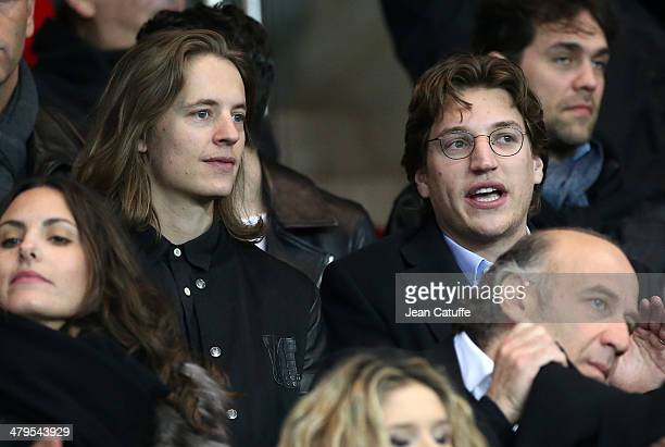 Pierre Sarkozy and Jean Sarkozy attend the Ligue 1 match between Paris SaintGermain FC and AS SaintEtienne at Parc des Princes stadium on March 16...