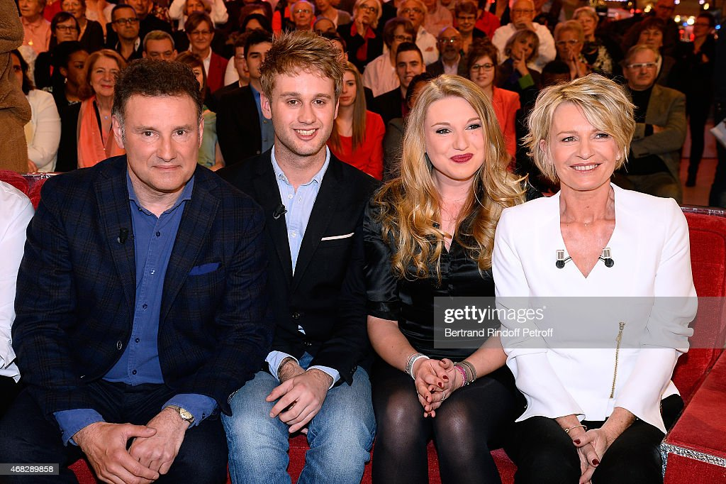 Pierre Sled and Main guest of the show Sophie Davant with their children Nicolas Sled and Valentine Sled attend the 'Vivement Dimanche' French TV Show at Pavillon Gabriel on April 1, 2015 in Paris, France.