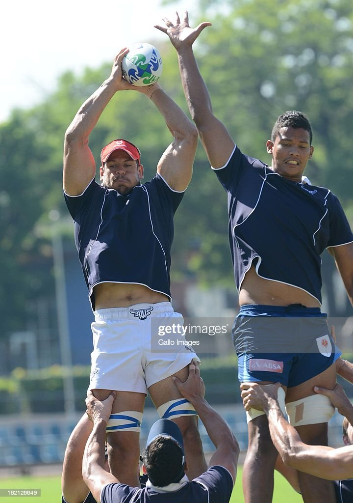 <a gi-track='captionPersonalityLinkClicked' href=/galleries/search?phrase=Pierre+Spies&family=editorial&specificpeople=4277684 ng-click='$event.stopPropagation()'>Pierre Spies</a> and Cornell Hess during a Vodacom Bulls training session at Loftus Versveld on February 19, 2013 in Pretoria, South Africa.