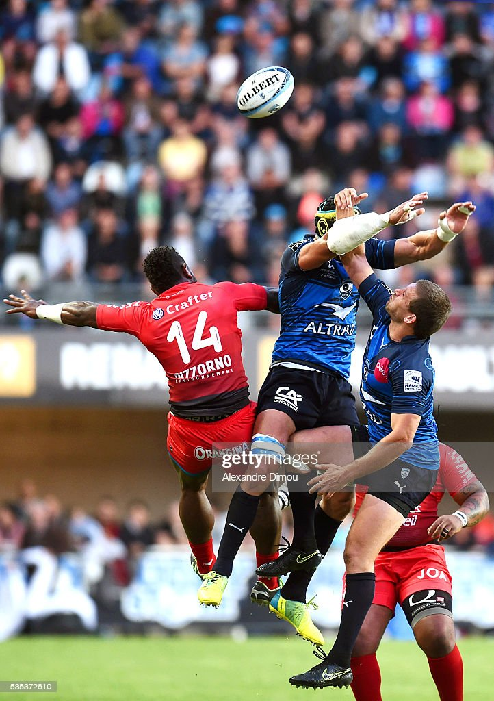 Pierre Spies of Montpellier and Francois Steyn of Montpellier during the rugby Top 14 match between Montpelier and RC Toulon on May 29, 2016 in Montpellier, France.
