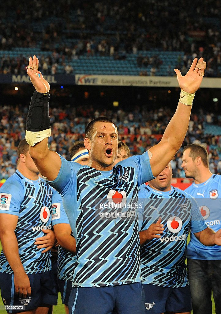 Pierre Spies of the Bulls celebrates the win during the Super Rugby match between Vodacom Bulls and DHL Stormers from Loftus Versfeld Stadium on February 22, 2013 in Pretoria, South Africa.