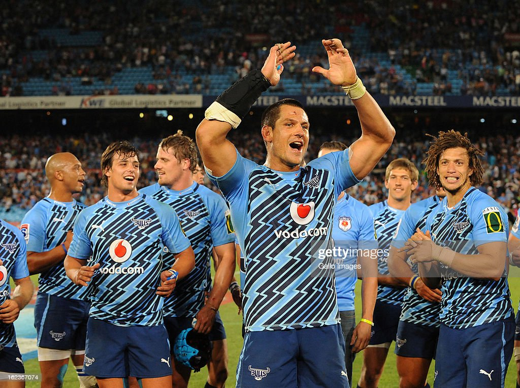 <a gi-track='captionPersonalityLinkClicked' href=/galleries/search?phrase=Pierre+Spies&family=editorial&specificpeople=4277684 ng-click='$event.stopPropagation()'>Pierre Spies</a> of the Bulls celebrates the win during the Super Rugby match between Vodacom Bulls and DHL Stormers from Loftus Versfeld Stadium on February 22, 2013 in Pretoria, South Africa.