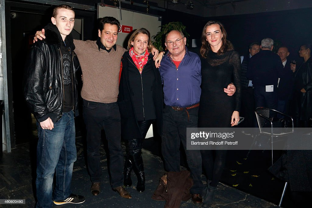 Pierre Stevenin, <a gi-track='captionPersonalityLinkClicked' href=/galleries/search?phrase=Laurent+Gerra&family=editorial&specificpeople=538435 ng-click='$event.stopPropagation()'>Laurent Gerra</a>, Claire Stevenin, Jean Francois Stevenin <a gi-track='captionPersonalityLinkClicked' href=/galleries/search?phrase=Salome+Stevenin&family=editorial&specificpeople=5672316 ng-click='$event.stopPropagation()'>Salome Stevenin</a> attend in Backstage the <a gi-track='captionPersonalityLinkClicked' href=/galleries/search?phrase=Laurent+Gerra&family=editorial&specificpeople=538435 ng-click='$event.stopPropagation()'>Laurent Gerra</a> Show, at Palais des Sports on December 23, 25,26 and 27, 2014 in Paris, France.