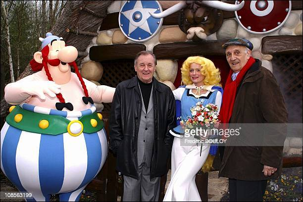 Pierre Tchernia Uderzo and persons of the park Asterix in Paris France on April 03rd 2004