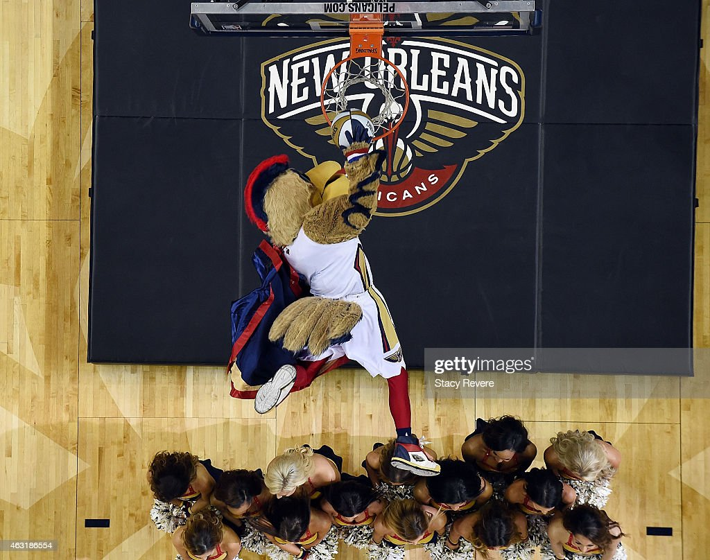 Pierre the Pelican mascot of the New Orleans Pelicans performs during a game against the Utah Jazz at the Smoothie King Center on February 9 2015 in...