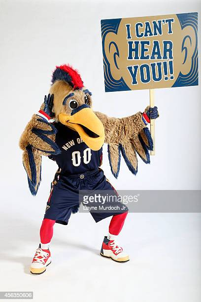 Pierre the Pelican mascot of the New Orleans Pelicans poses for photos during NBA Media Day on September 29 2014 at the New Orleans Pelicans practice...