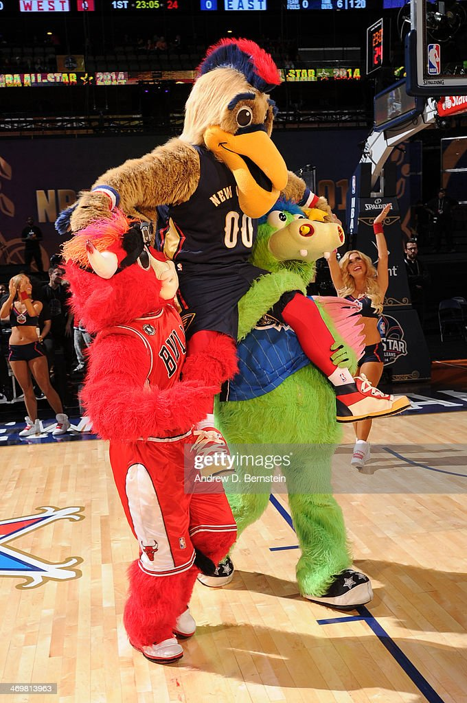 Pierre the Pelican of the New Orleans Pelicans is introduced before the 2014 NBA AllStar Game as part of the 2014 AllStar Weekend at Smoothie King...