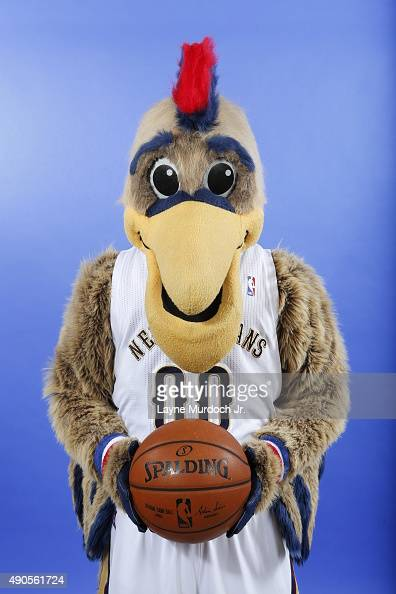 Pierre the Pelican of the New Orleans Pelicans pose for photos during NBA Media Day on September 28 2015 at the New Orleans Pelicans practice...