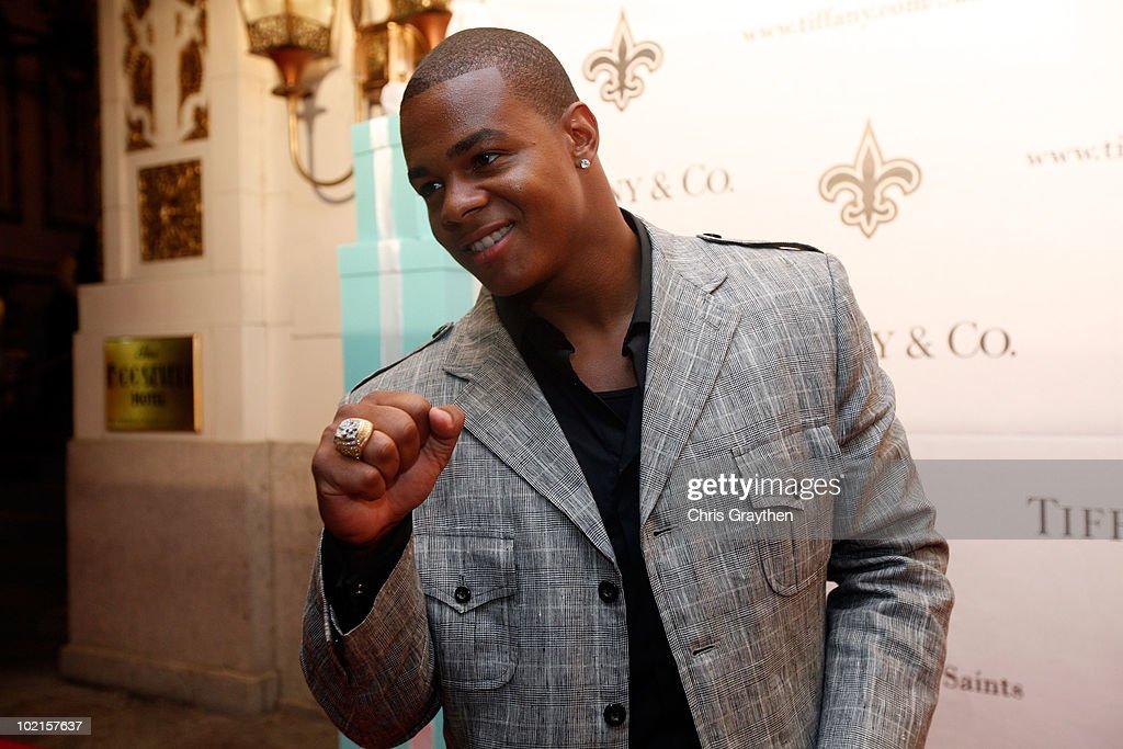 Pierre Thomas of the New Orleans Saints shows off his ring from Superbowl XLIV on June 16, 2010 in New Orleans, Louisiana.