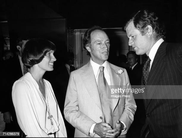 Pierre Trudeau and wife Margaret meet Ted Kennedy circa 1974