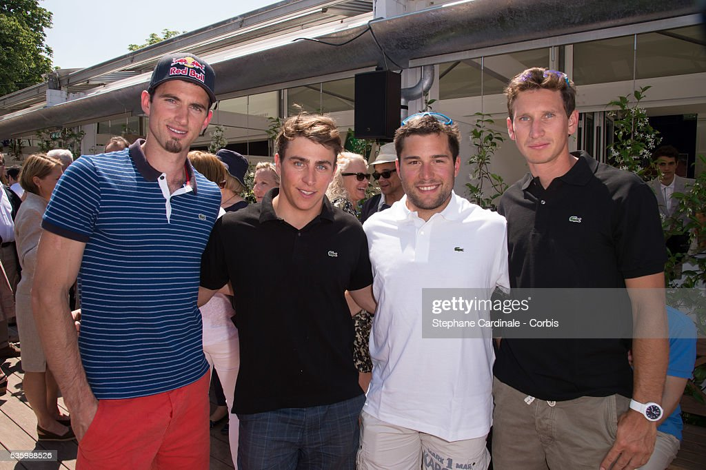 Pierre Vaultier, Jean-Francois Chappuis, Arnaud Bovolenta and Jonathan Midol attend the Roland Garros French Tennis Open 2014.
