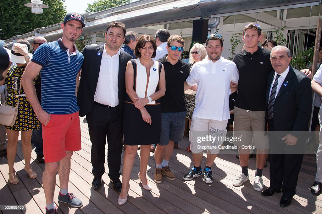 Pierre Vaultier, Jean-Francois Martins, Anne Hidalgo, Jean-Francois Chappuis, Arnaud Bovolenta , Jonathan Midol and Jean Gachassin attend the Roland Garros French Tennis Open 2014.
