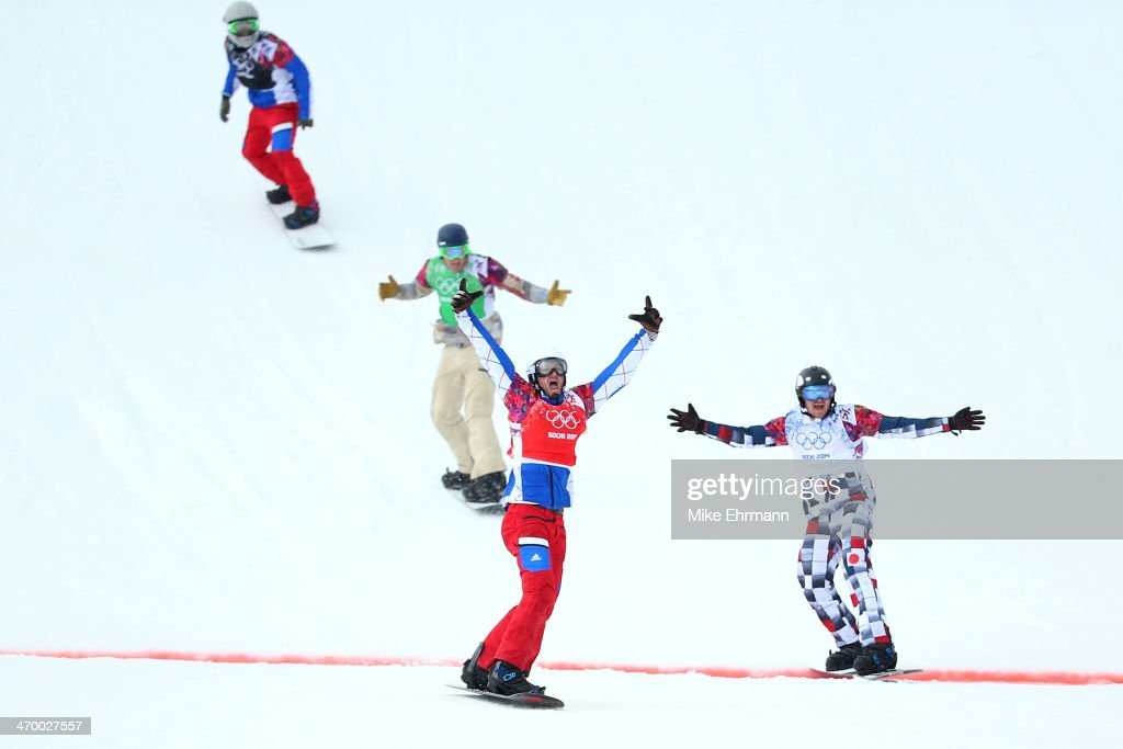 <a gi-track='captionPersonalityLinkClicked' href=/galleries/search?phrase=Pierre+Vaultier&family=editorial&specificpeople=818082 ng-click='$event.stopPropagation()'>Pierre Vaultier</a> of France (red bib) celebrates as he wins the gold medal ahead of Nikolay Olyunin of Russia (white bib) and <a gi-track='captionPersonalityLinkClicked' href=/galleries/search?phrase=Alex+Deibold&family=editorial&specificpeople=2293880 ng-click='$event.stopPropagation()'>Alex Deibold</a> of the United States (green bib) in the Men's Snowboard Cross Big Final on day eleven of the 2014 Winter Olympics at Rosa Khutor Extreme Park on February 18, 2014 in Sochi, Russia.