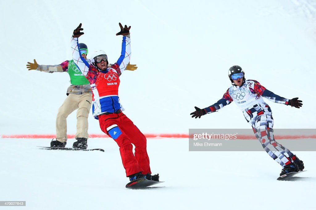 <a gi-track='captionPersonalityLinkClicked' href=/galleries/search?phrase=Pierre+Vaultier&family=editorial&specificpeople=818082 ng-click='$event.stopPropagation()'>Pierre Vaultier</a> of France (red bib) celebrates as he wins the gold medal ahead of <a gi-track='captionPersonalityLinkClicked' href=/galleries/search?phrase=Nikolay+Olyunin&family=editorial&specificpeople=11741263 ng-click='$event.stopPropagation()'>Nikolay Olyunin</a> of Russia (white bib) and <a gi-track='captionPersonalityLinkClicked' href=/galleries/search?phrase=Alex+Deibold&family=editorial&specificpeople=2293880 ng-click='$event.stopPropagation()'>Alex Deibold</a> of the United States (green bib) in the Men's Snowboard Cross Big Final on day eleven of the 2014 Winter Olympics at Rosa Khutor Extreme Park on February 18, 2014 in Sochi, Russia.