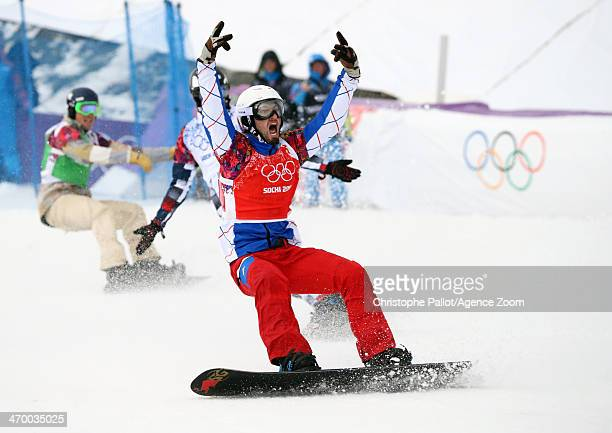 Pierre Vaultier of France celebrates as he wins the gold medal during the Snowboarding Men's Snowboard Cross at the Rosa Khutor Extreme Park on...