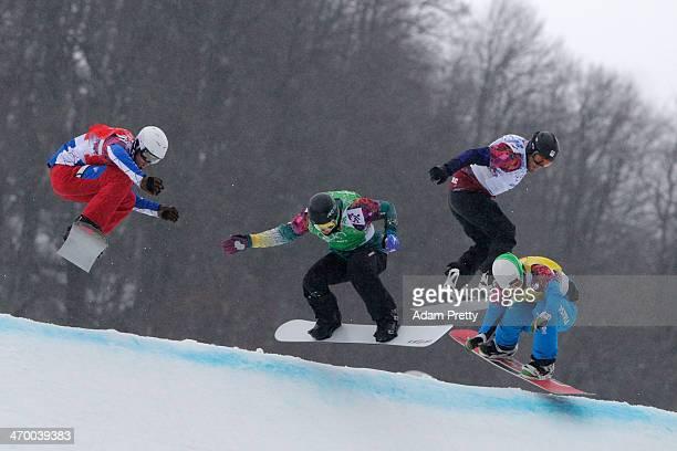 Pierre Vaultier of France Jarryd Hughes of Australia Emil Novak of the Czech Republic and Hanno Douschan of Austria compete in the Men's Snowboard...