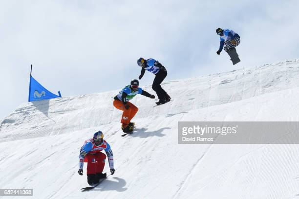 Pierre Vaultier of France Lucas Eguibar of Spain Alex Pullin of Australia and Nick Baumgartner of the United States compete in the Men's Snowboard...