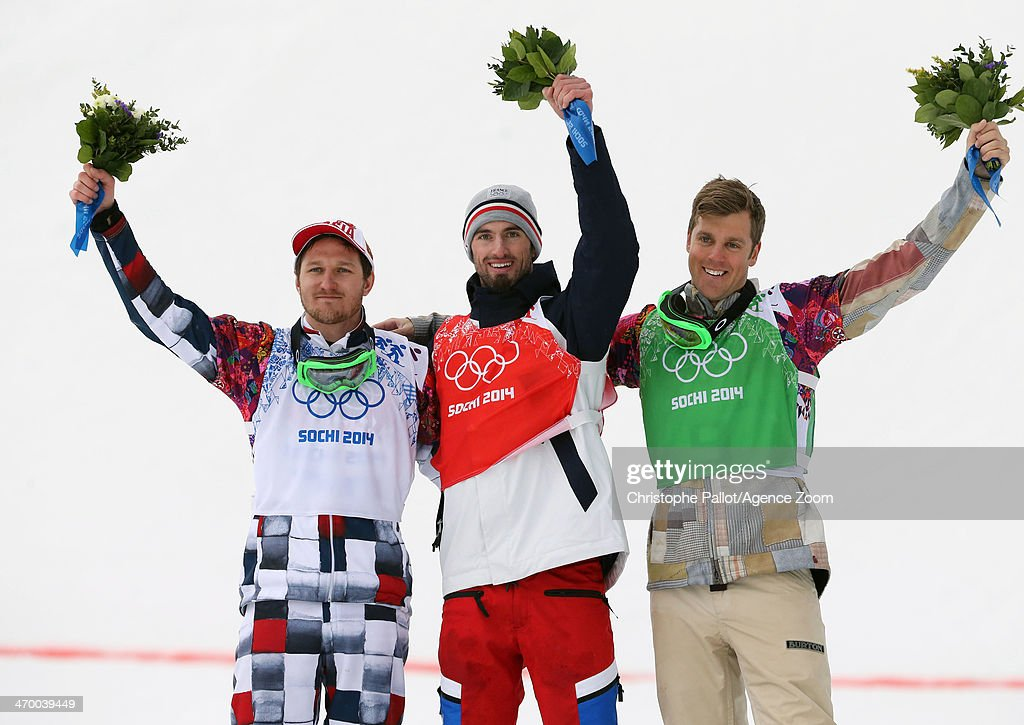 <a gi-track='captionPersonalityLinkClicked' href=/galleries/search?phrase=Pierre+Vaultier&family=editorial&specificpeople=818082 ng-click='$event.stopPropagation()'>Pierre Vaultier</a> (C) of France wins the gold medal, <a gi-track='captionPersonalityLinkClicked' href=/galleries/search?phrase=Nikolay+Olyunin&family=editorial&specificpeople=11741263 ng-click='$event.stopPropagation()'>Nikolay Olyunin</a> (L) of Russia wins the silver medal and <a gi-track='captionPersonalityLinkClicked' href=/galleries/search?phrase=Alex+Deibold&family=editorial&specificpeople=2293880 ng-click='$event.stopPropagation()'>Alex Deibold</a> of the USA wins the bronze medal during the Snowboarding Men's Snowboard Cross at the Rosa Khutor Extreme Park on February 18, 2014 in Sochi, Russia.
