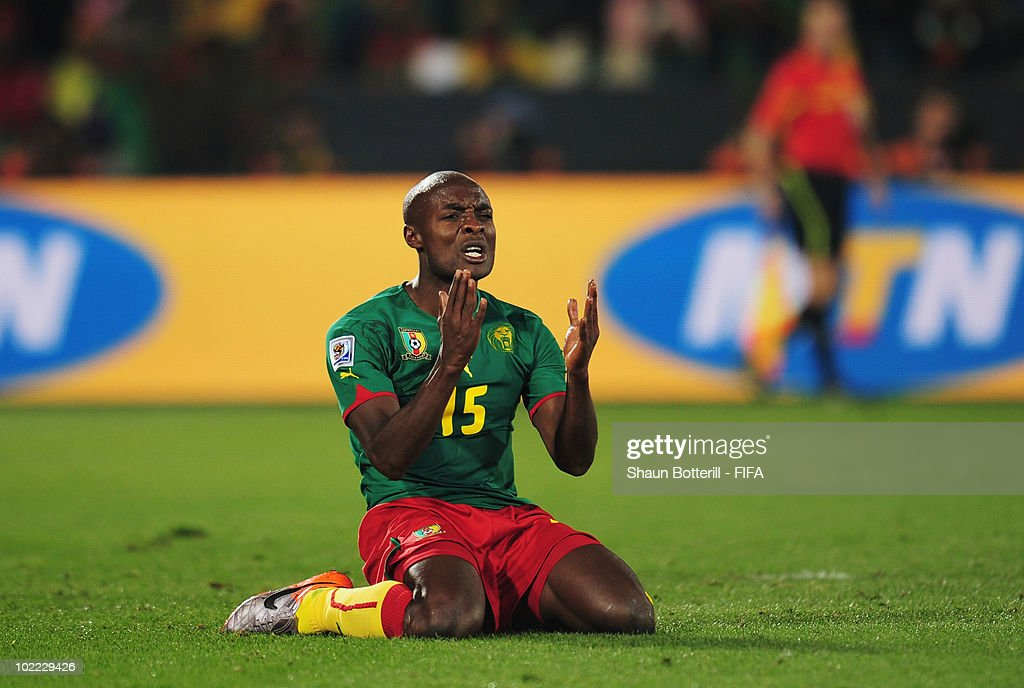 <a gi-track='captionPersonalityLinkClicked' href=/galleries/search?phrase=Pierre+Webo&family=editorial&specificpeople=790636 ng-click='$event.stopPropagation()'>Pierre Webo</a> of Cameroon reacts during the 2010 FIFA World Cup South Africa Group E match between Cameroon and Denmark at Loftus Versfeld Stadium on June 19, 2010 in Tshwane/Pretoria, South Africa.
