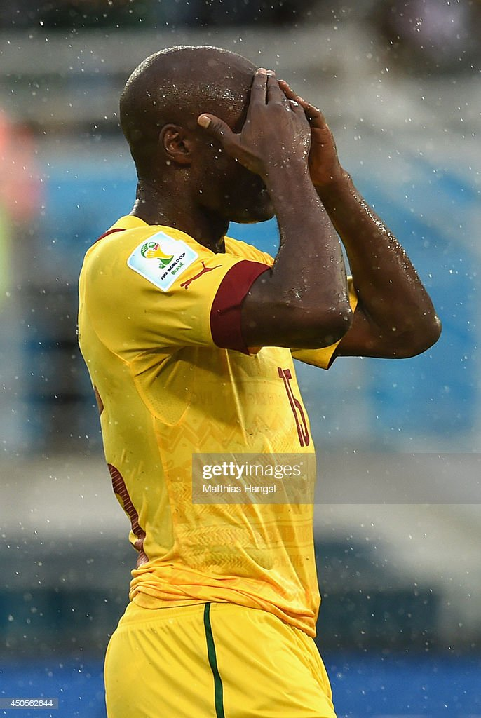 <a gi-track='captionPersonalityLinkClicked' href=/galleries/search?phrase=Pierre+Webo&family=editorial&specificpeople=790636 ng-click='$event.stopPropagation()'>Pierre Webo</a> of Cameroon reacts during the 2014 FIFA World Cup Brazil Group A match between Mexico and Cameroon at Estadio das Dunas on June 13, 2014 in Natal, Brazil.
